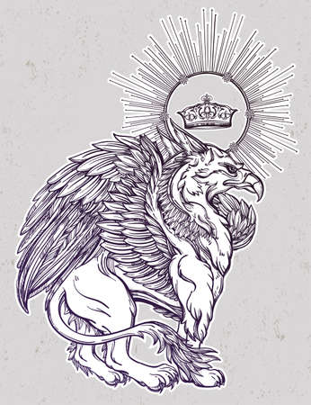 griffon: Hand drawn vintage Griffin, mythological magic winged beast with crown. Victorian motif, tattoo design element. Heraldry and  line art style. Illustration