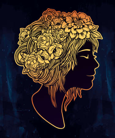 silhouette woman: Hand drawn beautiful artwork of a girl head with decorative hair and romantic flowers on her head. Boho, spirituality, decorative tattoo art, coloring books. Isolated vector illustration.