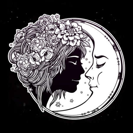 night art: Magic night fairy with a moon. Portrait of a beautiful girl head with decorative hair and flowers on her head and a cresent next to her. Boho, spirituality, tattoo art. Isolated vector illustration.