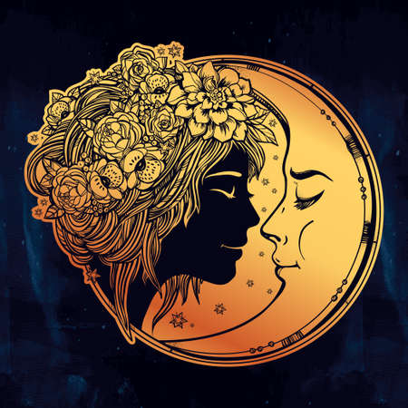 night moon: Magic night fairy with a moon. Portrait of a beautiful girl head with decorative hair and flowers on her head and a cresent next to her. Boho, spirituality, tattoo art. Isolated vector illustration.