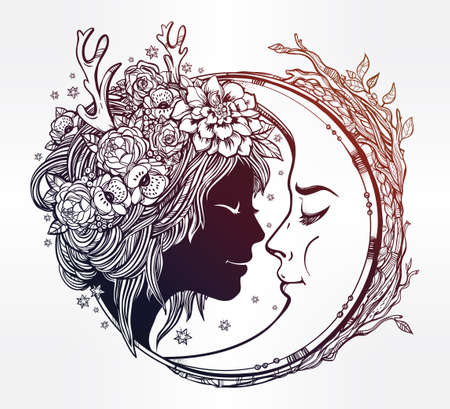 femme dessin: fée elfe Dreamy avec une lune. Portrait d'une belle tête de jeune fille aux cheveux et des fleurs sur sa tête décorative et une cresent à côté d'elle. Boho, la spiritualité, l'art du tatouage. Isolated illustration vectorielle.