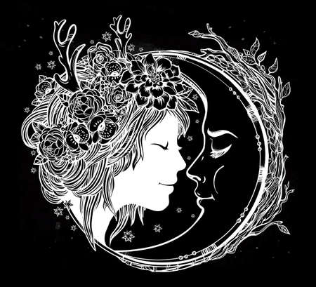 flower head: Dreamy elf fairy with a moon. Portrait of a beautiful girl head with decorative hair and flowers on her head and a cresent next to her. Boho, spirituality, tattoo art. Isolated vector illustration. Illustration