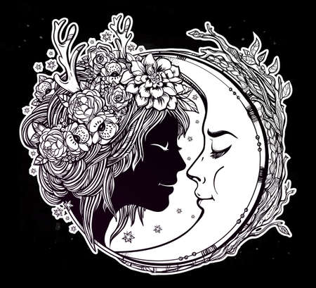 black woman face: Dreamy elf fairy with a moon. Portrait of a beautiful girl head with decorative hair and flowers on her head and a cresent next to her. Boho, spirituality, tattoo art. Isolated vector illustration. Illustration