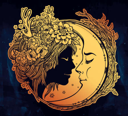 night moon: Dreamy elf fairy with a moon. Portrait of a beautiful girl head with decorative hair and flowers on her head and a cresent next to her. Boho, spirituality, tattoo art. Isolated vector illustration. Illustration
