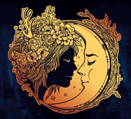 noche y luna: Hada del duende de ensueño con una luna. Retrato de una cabeza hermosa chica con el pelo y flores en la cabeza decorativa y una cresent al lado de ella. Boho, la espiritualidad, el arte del tatuaje. ilustración del vector.
