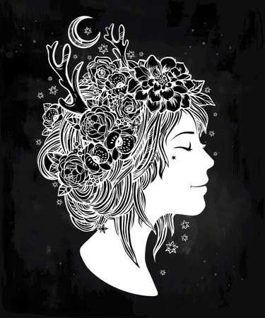 hair coloring: Hand drawn beautiful artwork of an elf fairy girl head with decorative hair and romantic flowers on her head. Boho, spirituality, decorative tattoo art, coloring books. Isolated vector illustration. Illustration