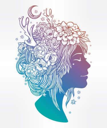 nature woman: Hand drawn beautiful artwork of an elf fairy girl head with decorative hair and romantic flowers on her head. Boho, spirituality, decorative tattoo art, coloring books. Isolated vector illustration. Illustration