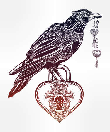 keys isolated: Hand drawn raven bird with heart shaped padlock in vintage engraved style with elegant keys. Isolated Vector illustration. Tattoo art, spirituality, magic symbol. Witchcraft animal, mystic element.