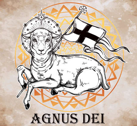 the christian religion: Lamb of God Christian Symbol with flag and halo. Agnus Dei in Latin. Beautiful religious art. Bible character. Alchemy, religion, spirituality, occultism, tattoo art. Isolated vector illustration. Illustration
