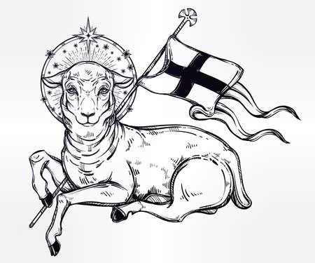 pasen schaap: Lam van God Christelijke symbool met vlag en halo. Agnus Dei in het Latijn. Mooie religieuze kunst. Bijbel karakter. Alchemy, religie, spiritualiteit, occultisme, tattoo art. Geïsoleerde vector illustratie.