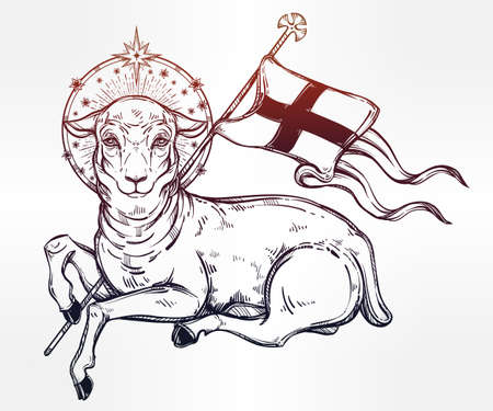 Lamb of God Christian Symbol with flag and halo. Agnus Dei in Latin. Beautiful religious art. Bible character. Alchemy, religion, spirituality, occultism, tattoo art. Isolated vector illustration. Illustration