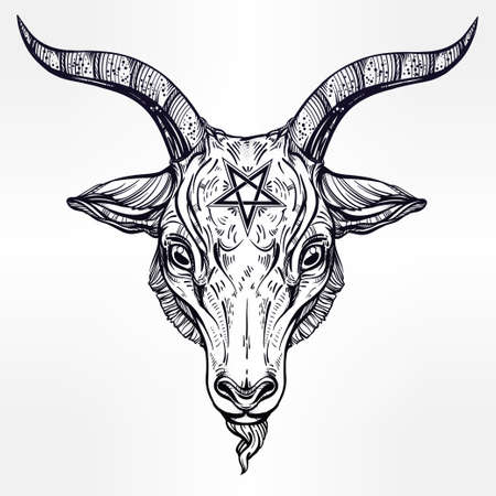 pagan cross: Pentagram with demon Baphomet. Satanic goat head. Binary satanic symbol. Vector illustration isolated. Tattoo design, retro, music, summer, print symbol for biker black metal themes.