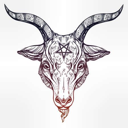 satanic: Pentagram with demon Baphomet. Satanic goat head. Binary satanic symbol. Vector illustration isolated. Tattoo design, retro, music, summer, print symbol for biker black metal themes.