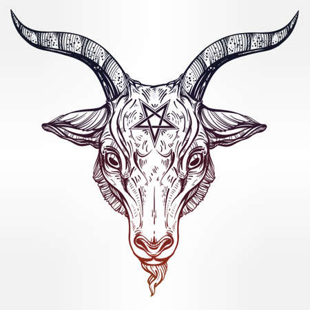 satan: Pentagramm mit Dämon Baphomet. Satanic Ziege Kopf. Binary satanische Symbol. Vektor-Illustration isoliert. Tattoo-Design, retro, Musik, Sommer, Print Symbol für Biker Black-Metal-Themen.