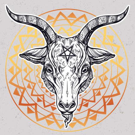 pentagramma musicale: Pentagram con demone Baphomet. testa di capra satanica. Binary simbolo satanico. Illustrazione di vettore isolata. Disegno del tatuaggio, retro, musica, estate, simbolo di stampa per biker temi black metal.