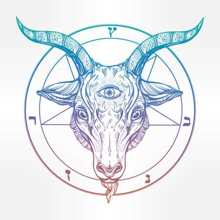 pentagramma musicale: Pentagram con demone Baphomet. testa di capra satanica con il terzo occhio. Binary simbolo satanico. Illustrazione di vettore isolata. Disegno del tatuaggio, retro, musica, estate, simbolo di stampa per biker temi black metal.