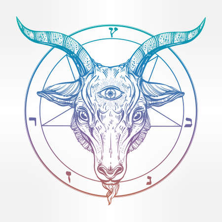 Pentagram with demon Baphomet. Satanic goat head with third eye. Binary satanic symbol. Vector illustration isolated. Tattoo design, retro, music, summer, print symbol for biker black metal themes. Illustration