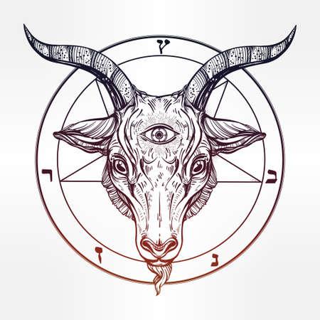 third eye: Pentagram with demon Baphomet. Satanic goat head with third eye. Binary satanic symbol. Vector illustration isolated. Tattoo design, retro, music, summer, print symbol for biker black metal themes. Illustration