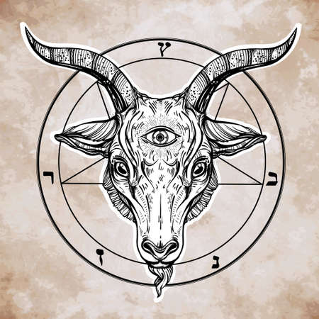 third eye: Pentagram with demon Baphomet. Satanic goat head with third eye. Binary satanic symbol. Vector illustration isolated. Tattoo design, retro, music, summer, print symbol for biker black metal themes. Illustration