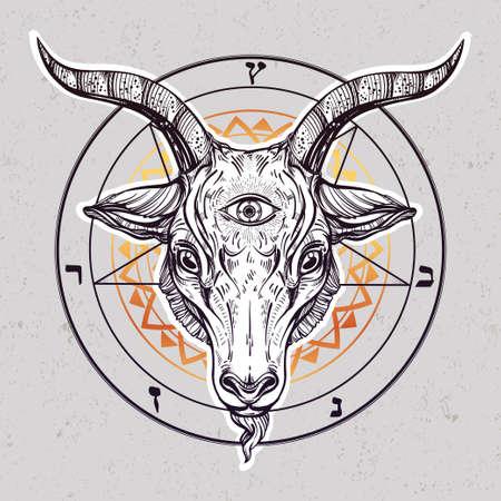 satanic: Pentagram with demon Baphomet. Satanic goat head with third eye. Binary satanic symbol. Vector illustration isolated. Tattoo design, retro, music, summer, print symbol for biker black metal themes. Illustration
