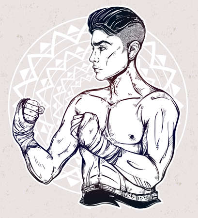 brutal: Hand drawn boxer fighter, player. Ideal for boxing club, training Men fight brutal theme. Isolated vector illustration. Illustration