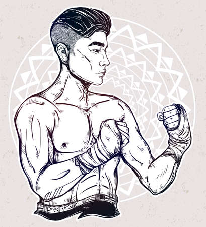 brutal: Hand drawn strong and gritty Asian boxer fighter or Muay Thai martial arts player. Ideal for boxing club, training Men fight brutal theme. Isolated vector illustration.