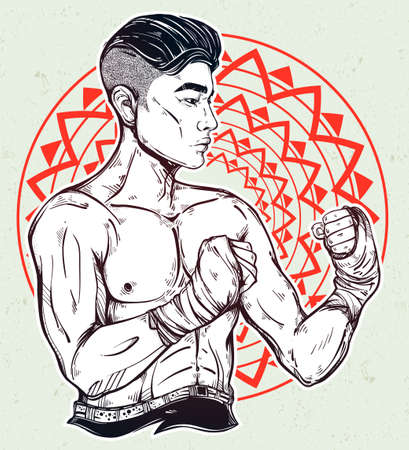 kickboxing: Hand drawn strong and gritty Asian boxer fighter or Muay Thai martial arts player. Ideal for boxing club, training Men fight brutal theme. Isolated vector illustration.