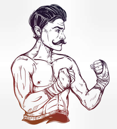 brutal: Hand drawn boxer fighter, player in vintage style. Traditional tattoo style retro poster. Ideal for boxing club, training men fight brutal theme. Isolated vector illustration. Illustration