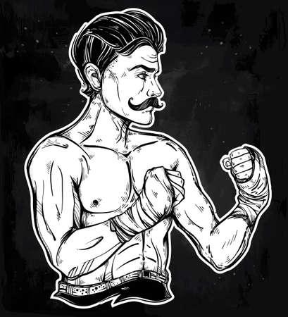 athletes: Hand drawn boxer fighter, player in vintage style. Traditional tattoo style retro poster. Ideal for boxing club, training men fight brutal theme. Isolated vector illustration. Illustration