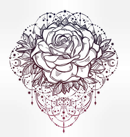 flesh: Decorative rose flower with beautiful beads and stars. Highly detailed isolated vector illustration. Tattoo flesh, mystic boho symbol. floral design. Print, posters, t-shirts and textiles.
