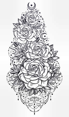 flesh: Decorative rose flower stem with beautiful beads, moons and stars. Highly detailed isolated vector illustration. Tattoo flesh, mystic boho symbol. floral design. Print, posters, t-shirts and textiles.