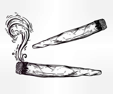 spliff: Two kinds of weed joint or spliff drawings.