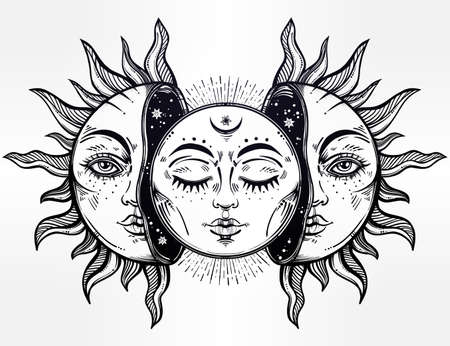 moon eclipse: Vector illustration of Moon and Sun with faces.