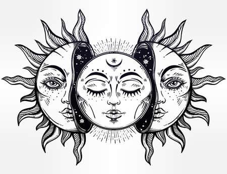 Vektorové ilustrace měsíce a slunce s tvářemi. Ilustrace