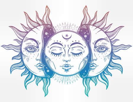sole: Illustrazione vettoriale di Luna e Sole con facce. Vettoriali