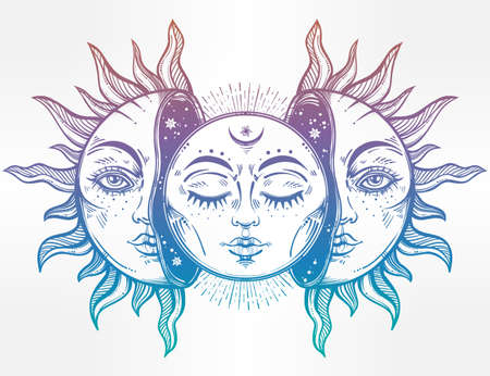 Vector illustration of Moon and Sun with faces.