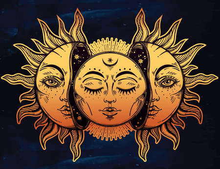 mystic: Vector illustration of Moon and Sun with faces.