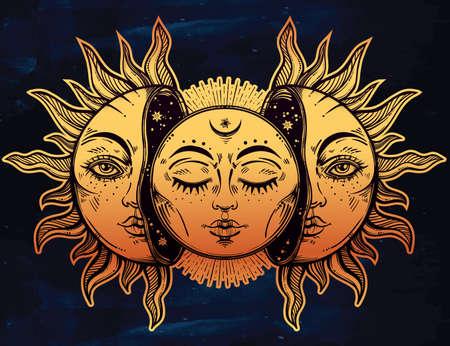 Vektor-Illustration von Mond und Sonne mit Gesichtern. Illustration