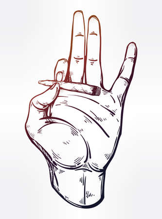 Hand holding a weed joint or tabacco cigarette. Illustration
