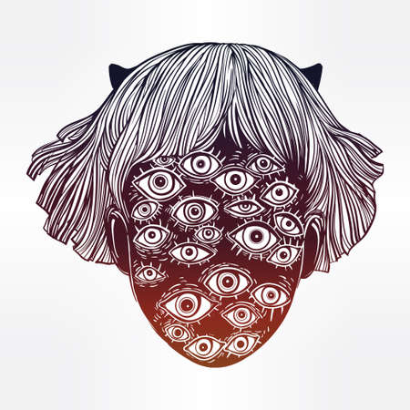 Portrait of a many eyed beast with surreal face. Illustration