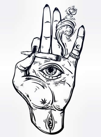 see weed: Hand holding a joint or cigarette with an eye. Illustration