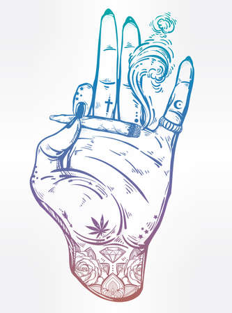 Tattooed hand with weed joint or cigarette.