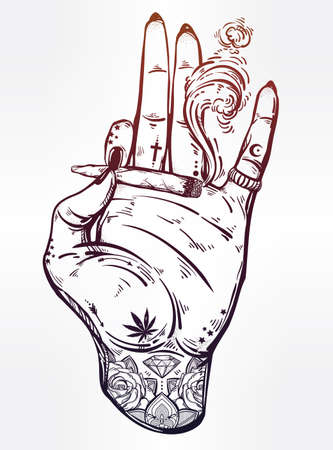 dope: Tattooed hand with weed joint or cigarette.