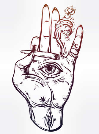 Hand holding a joint or cigarette with an eye. Illustration