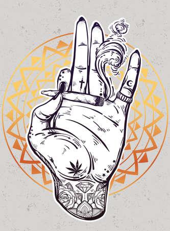 rocker girl: mano tatuada con junta de malezas o un cigarrillo.