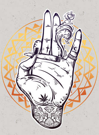 spliff: Tattooed hand with weed joint or cigarette.