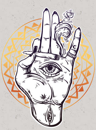 tripping: Hand holding a joint or cigarette with an eye. Illustration