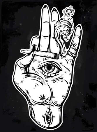 illuminati: Hand holding a joint or cigarette with an eye. Stock Photo