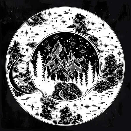 mountain road: Round frame of night sky with landscape inside. Illustration
