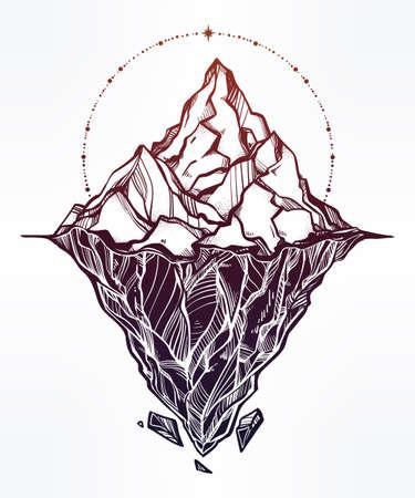 Hand drawn beautiful iceberg illustration. Illustration